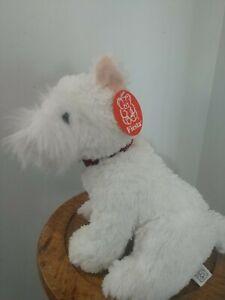 """Fiesta White Furry PUPPY DOG Soft PLUSH Stuffed Animal Small 10"""""""