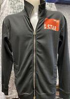 Mens Great G Star Raw Black Zip Up Lightweight Sweat Jacket with Logo Size XXL