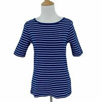 Tommy Hilfiger Shirt Womens Size S Blue White Stripes Round Neck 3/4 Sleeve Top