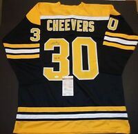 Gerry Cheevers Boston Bruins Autographed Signed Black Style Jersey XL coa JSA