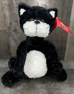 Russ Berrie Scratch the Cat Plush Tuxedo Kitty Black White #22203 P91