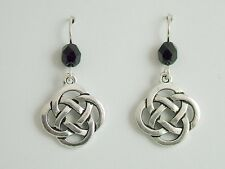 Celtic Knot dangle Earrings- black glass Pewter & Sterling Silver large Round