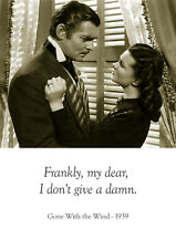 Film Poster - Gone With the Wind - 1939 - Famous Quote - A3 (420mm x 297mm)