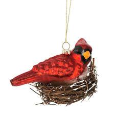 Cardinal Glass in Nest Ornament