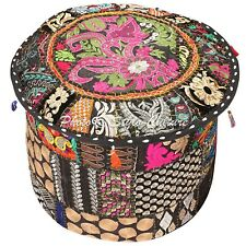 "Ethnic Round Pouf Cover Patchwork Embroidered Large Ottoman Bohemian 18"" Black"