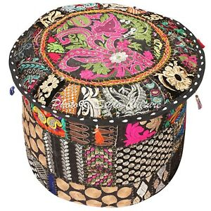 """Ethnic Round Pouf Cover Patchwork Embroidered Large Ottoman Bohemian 18"""" Black"""