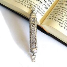 """Door Mezuzah Case Yemenite Filigree 925 Sterling Silver Judaica Fit 3"""" Scroll"""