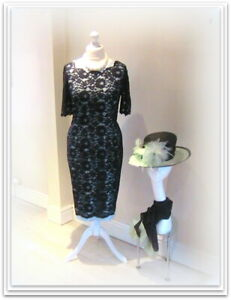 Designer JACQUES VERT Navy MOTHER of the BRIDE Lace Dress-16-Wedding Outfit/Race