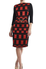Joseph Ribkoff Black & Red Geometric Sheath Holiday Dress 173781 US 8 UK 10 NEW