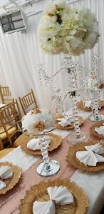 9 arm Clear Crystal Candelabra Pillar Candle Holder Centerpiece for hire
