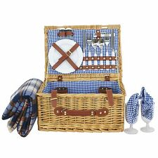 Deluxe 2 Person Wicker Picnic Basket Hamper Set with Flatware and Wine Glasses