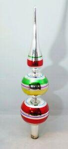 """Finial Silver Tree Topper Stripe Glass 12"""" Vintage Inspired Kurt Adler"""