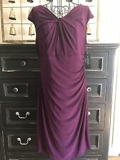 Ralph Lauren Plum Purple Jersey Knot Front Cap Sleeve Wear To Work Dress Sz 14