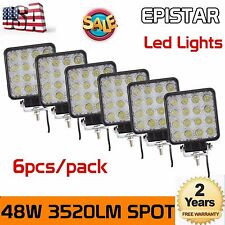 6X 48W SPOT LED Off road Work Light Lamp 12V 24V car boat Truck Driving UTE