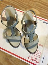 Bottega Veneta Light Beige Leather Sandal T-Strap Wood 35 1/5