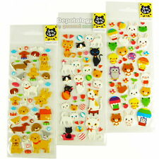3 Sheets of Puffy Cushion Sponge Stickers Animals Puppy Dog Kitten Cat Bunny Owl