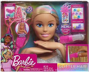 Barbie Frisurenkopf Frisierkopf Styling Kopf Schminkpuppe 21-tlg Glitzer Set