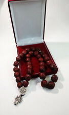 Holy Rosary - Prayer Rope 33 Knots Red aromatic nutmeg with Holy anointing oil