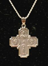 Four Way Cross Medal 34 x 24mm in 14K White Gold 4 Way Scapular XR1283