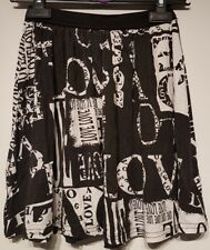 Size 6 Skirt Black White Mini LOVE Print Casual Women's Ladies