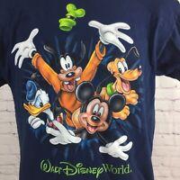 Walt Disney World T-Shirt Blue 2 Sided Disneyland Mickey Goofy Donald / Kids XL