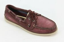 Sperry Top-Sider Men's A/O 2-Eye White Wash Maroon Boat Shoe NW/OB