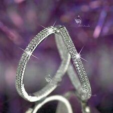 18k white gold gp hoop stud earrings made with SWAROVSKI crystal hoops 30mm