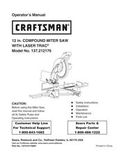 Craftsman 137.212170 Miter Saw Owners Instruction Manual