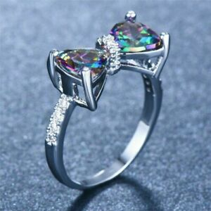 925 Silver Women Mystic Topaz Rainbow Bow Ring Engagement Jewelry Size 6-10