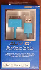 """Blue AUVIO 6"""" USB to 30-Pin  Sync Cable Made For iPod iPhone iPad New In Package"""
