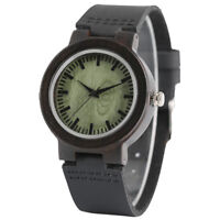Nature Wood Watches Bamboo Genuine Leather Band Modern Wooden Wrist Bracelet
