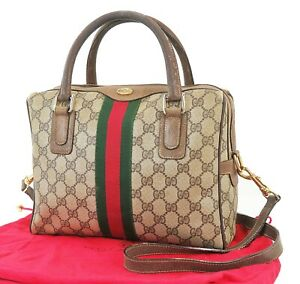 Auth Vintage GUCCI Brown GG PVC Canvas Leather 2-way Shoulder Hand Bag #39534