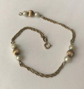 Vintage Hallmarked HM 9ct 9k Yellow Gold Pearl Fine Delicate Chain Bracelet