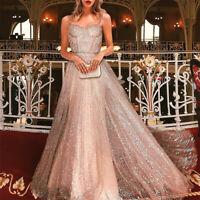 Women's Glitter Bandeau Formal Wedding Bridesmaid Long Evening Party Prom Dress
