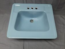 Vtg Mid Century Ceramic Blue Porcelain Old Drop In Bath Sink Standard 186-17E