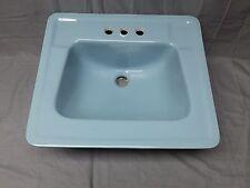 Vtg Mid Century Ceramic Blue Porcelain Old Drop In Bath Sink Standard 186-17E