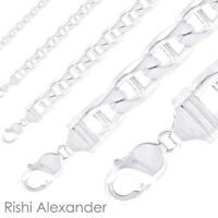 Real Solid 925 Sterling Silver Mens Mariner Chain Link Bracelet or Necklace