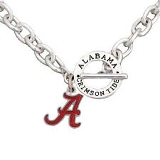 Alabama Crimson Tide Team Name Toggle Silver Necklace Red Enamel Jewelry UA