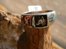 Sterling silver Navajo mens ring wolf turquoise paws size 10, 12, 13, or 14,