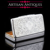 Victorian Solid Silver Snuff Box with Acanthus Chasing - Owen & Boon 1856