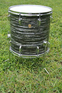 """1969 Ludwig CLASSIC 16"""" BLACK OYSTER PEARL FLOOR TOM fr YOUR RINGO DRUM SET D747"""