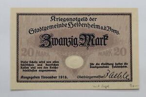 GERMANY Württemberg: Heidenheim, Stadt 20 MARK 1919 SCARCE SHARP DETAILS B27 PUR