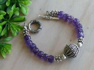 "Artisan Natural Amethyst Rondelle & Sterling Silver Beads Bracelet W/Toggle 7.5"""