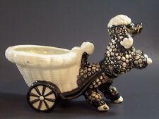 Black White Bubble POODLE Planter SHAFFORD Japan Rearing Porcelain Vintage Dog