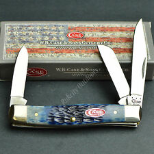 Case XX Navy Blue Jigged Bone Medium Stockman 3 Blade Folding Pocket Knife New!