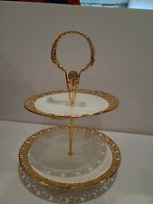 NEW Beautiful Unique Design white/gold serving two tier tray