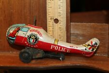 Vintage Japan Tin Litho Hiagway Patrol Police Helicopter Friction Toy As IS