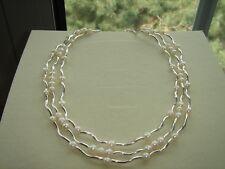 Mehrreihige Perlenkette, Sterlingsilber mit Süßwasserzuchtperlen