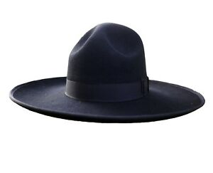 Israel Jewish Hat Hasidic Jews Wide Brim Fedora Cap 100% Wool  Black