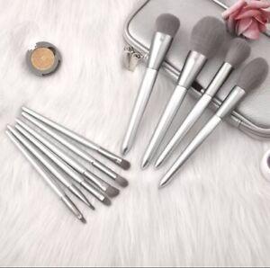 Silver Makeup Brush Set Made In Wood - 10 Pcs/set